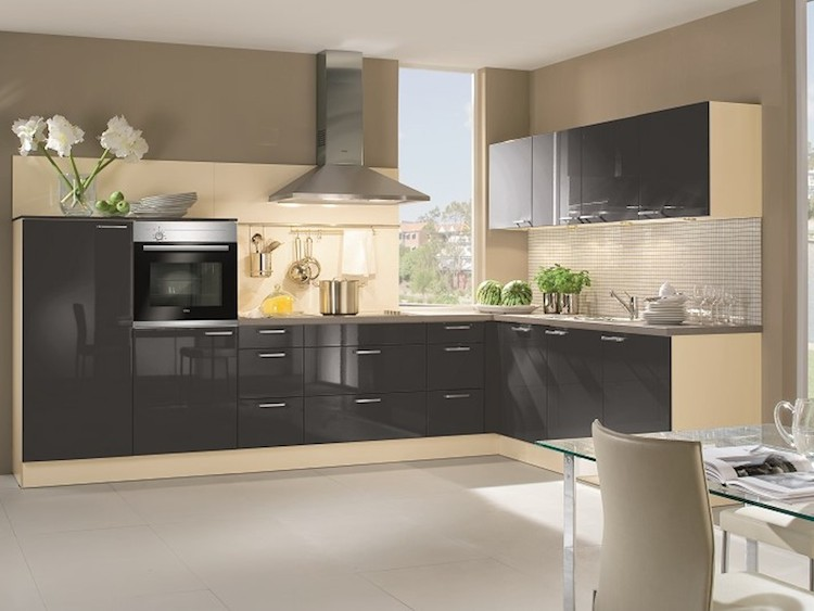 White High Gloss Kitchens With Grey Tiles