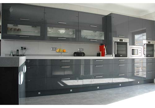 Grey kitchen sierra blanca marbella costa del sol for Kitchen units grey gloss